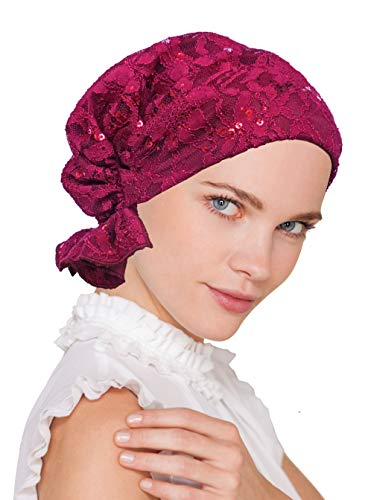 (Abbey Cap Womens Chemo Hat Beanie Scarf Turban Headwear for Cancer Lace Sequin Plum Purple)