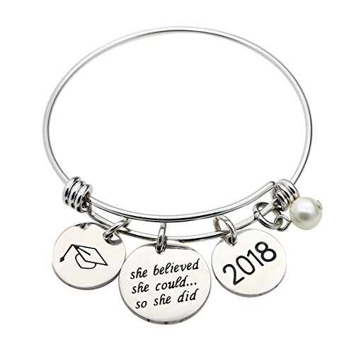 Pearl Graduation Cup Bangle Bracelet She believed she could so she did 2018 (Style A)