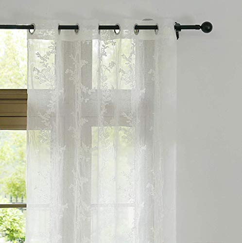 Anjee Crushed Leaf Sheer Curtains Panels (2 Panels), Vintage Crumpling Process with Grommet Top, 63 inch Length, Ivory White for Bedroom