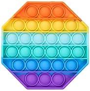 Push Pop Pop Bubble Sensory Fidget Toy,Rainbow Silicone Stress Reliever Toy, Squeeze Sensory Toy for Autism Sp