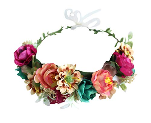 Adjustable Flower Headband Women Floral Crown Hair Wreath Floral Headpiece Halo Boho with Ribbon Wedding Party Festival Photos by ()