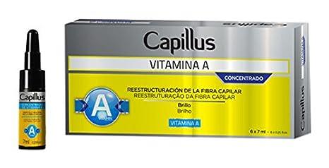 Capillus Vitamina A - Kit de Ampollas Concentrado Reestructuración de la Fibra Capilar - Paquetes de 6 ampollas x 7 ml - Total: 42 ml: Amazon.es: Belleza