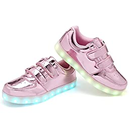EQUICK Kids Light Up Casual Shoes Flashing Double Velcro LED Sneakers with 11 Colors Modes for Boys and Girls in Halloweens,D5001,L06,34