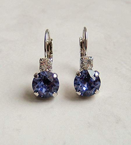 Blue Purple Round Crystal Studded Top Leverback Earrings Simulated Tanzanite December Birthstone Gift Idea SP