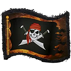 Pirate Flag Pinata - Kids Birthday Party Supplies for Pirate Themed Party, Black, 12 x 15.7 x 3 Inches