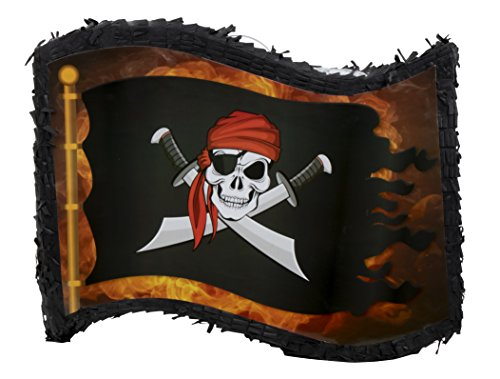 Juvale Small Pirate Flag Pinata, Kids Pirate Themed Birthday Party Supplies, 12 x 15.7 x 3 Inches -