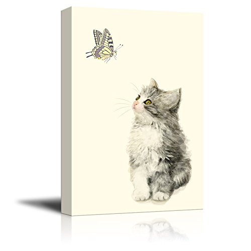 Cute Little Kitty and a Butterfly