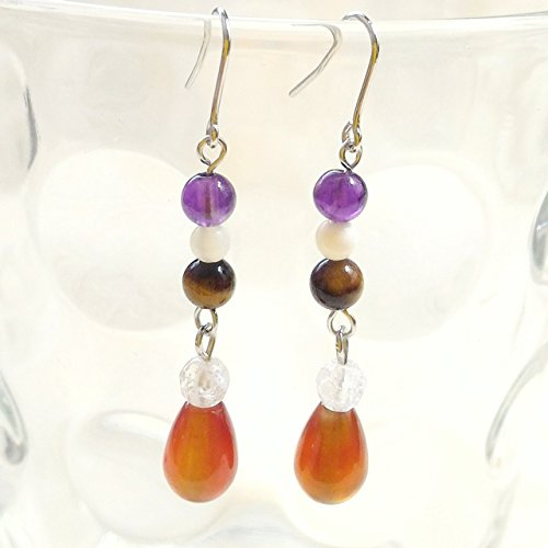 - Amethyst , White Shell , Tiger's Eye , Crack Clear Quartz & Carnelian . Pierced Earring Gemstones . Silver Plating Hook
