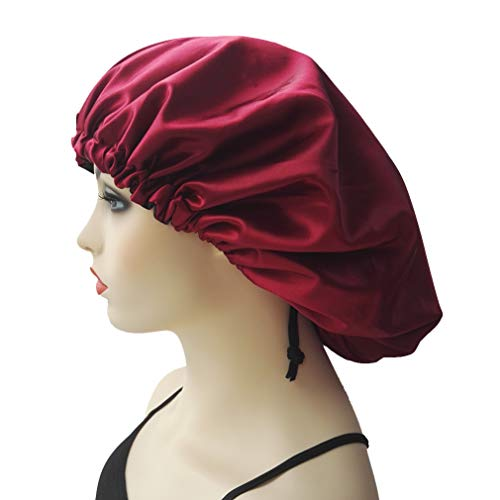 Women, Wine Red Satin Bonnet Cap for Sleeping, Super Large Night Hat Head Cover for Natural Hair Beauty ()