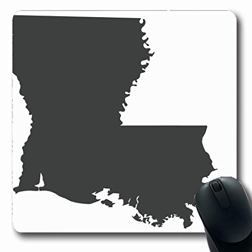 Ahawoso Mousepads for Computers On Louisiana State Map Black Baton Abstract America American Border Design Us Oblong Shape 7.9 x 9.5 Inches Non-Slip Oblong Gaming Mouse ()
