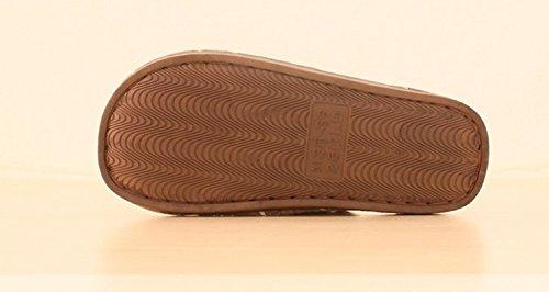 TELLW Winter Baumwoll Pantoffeln m?nnliche Damen Paare einfache quadratische Gitter Baumwolle Drag and Slip-Proof warm Home Pl¨¹sch Pantoffeln Rosa