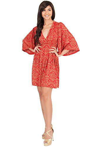 (KOH KOH Petite Womens Long Kimono 3/4 Sleeve Print Printed V-Neck Casual Vintage Summer Beach Sun Maternity Cute Short Knee Length Mini Midi Sundress Dress Dresses, Red and Beige XS 2-4)