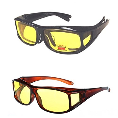 2 Pair Polarized Fit Over Lens Cover Italian Style Night Driving Sunglasses - Fitover Glasses