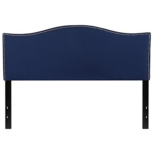 Flash Furniture Lexington Upholstered Queen Size Headboard with Decorative Nail Trim in Navy Fabric - Arched Panel Bed Set