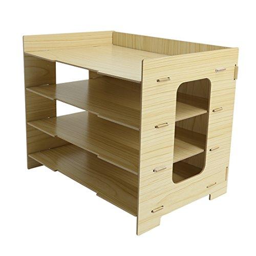 PeleusTech® 4 Layers Wood Storage Rack Durable Office Organization for File Desktop Organizer Shelf for Books Documents - (Wood Grain) by PeleusTech® (Image #2)