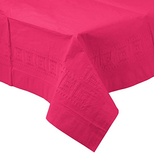 710205B 54'' x 108'' Hot Magenta Pink Tissue / Poly Table Cover - 24/Case By TableTop King by TableTop King