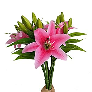 7 Pcs Artificial Lily Flowers Artificial Lillies Flowers for Home Wedding Bouquets Home Hotel Party Decor Graves Arrangement (red) 51