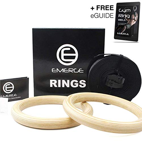 Emerge Wooden Olympic Gymnastics Rings Bodyweight Home Gym Training Set with Adjustable Straps for Core Strength Exercises - Intense Physical Training Equipment - A+ Fitness Gear for A+ Athletes