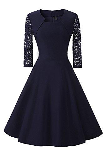 fef7a4be73be Damen Abendkleid 3 4 Ärmel-Spitzenkleid mit Angenähtem-Bolero, (Kostor)