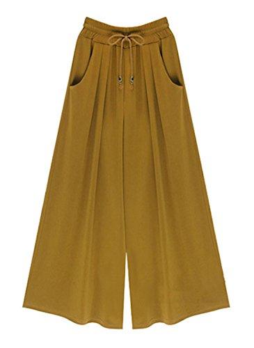 Tasca Bende Simple Gamba Larga Sciolto Pantaloni Tinta Pants con Punti Fashion Nove da Donna Giallo Giovane Unita Zenzero Moda Casual ccOpgF4
