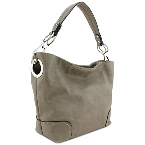 Women's Hobo Shoulder Bag with Big Snap Hook Hardware Stone