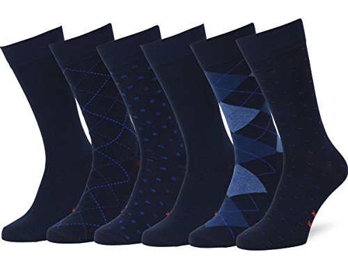 Easton Marlowe Men's Classic Subtle Pattern Dress Socks - 6pk #4-4, Dark Navy - 43-46 EU shoe size