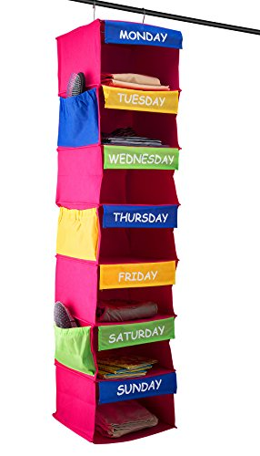 Sagler Daily Activity Organizer Kids 7 Shelf Portable Closet Hanging Closet Organizer Great Closet Solutions by Sagler