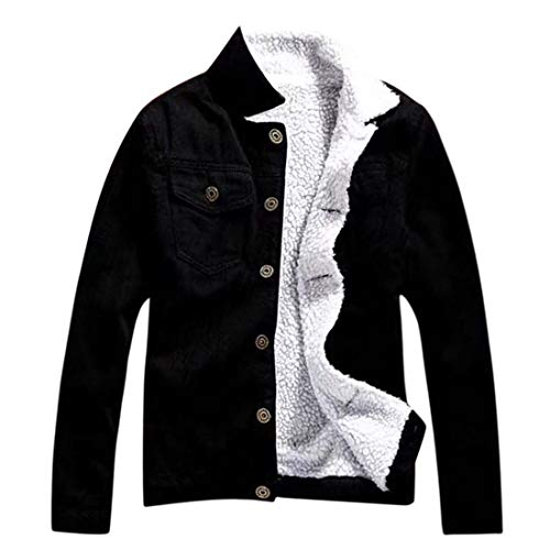 (Hemlock Women Plus Size Denim Jacket Faux Fur Denim Cardigan Coat Long Loose Jeans Outerwear Pullover Tops)