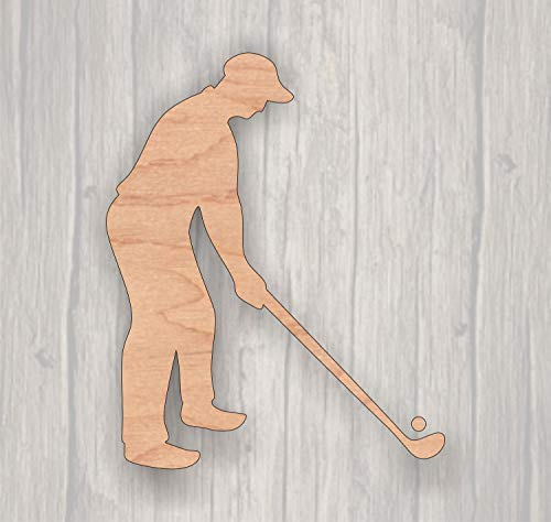 (Xusmimo Golfer Unfinished Wood Cutout Wood Cutout Laser Cutout Wood Sign Sign Blank Ready to Paint Door Hanger Sports)
