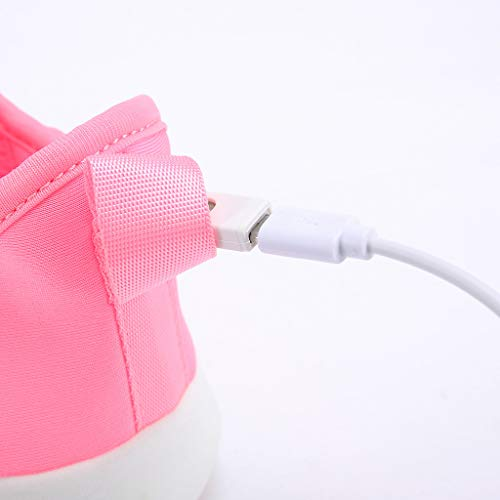 ℱLOVESOOℱ Couple Lace-Up Sneakers with Led Light Unisex Colorful Flash Casual Shoes Quick-Drying Breathable Runing Shoes Pink by ℱLOVESOOℱ (Image #7)