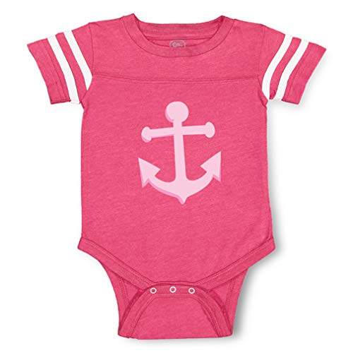 Anchor Light Pink Contrasting Stripes Taped Neck Boys-Girls Cotton Baby Football Bodysuit Sports Jersey - Hot Pink, 12 Months