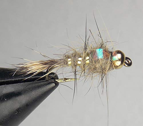 (1 Dozen (12 Flies) - Gold Ribbed Hare's Ear - Flash Back - Bead Head Fly Fishing Catch Excellent Trout bass Salmon (Hook, Hook Size 12))