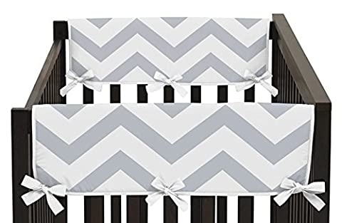 Gray and White Chevron Zig Zag Teething Protector Cover Wrap Baby boy girl Crib Side Rail Guards - Set of - Crib Teething Rail Cover