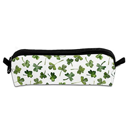 Green Shamrock Leaves Students Canvas Pencil Case Pen Bag Pouch Stationary Case Makeup Cosmetic Bag 21 X 5.5 X 5 cm