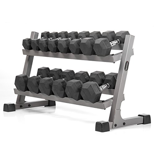 An Exceptional Package - XMark's Two Tier Heavy Duty Steel Dumbbell Rack With Angled Shelves Fully Loaded With 350 lbs....