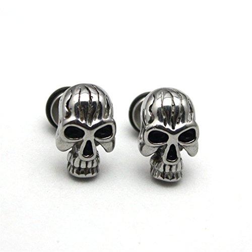 Unisex Hommes Femmes Boucles d'oreilles en Acier Inoxydable Clip Hypoallergénique--Crâne Rock Style