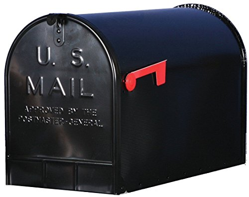 Apartment Locking Mailbox - New Solar Group Jumbo Extra-Large Capacity Galvanized Steel Black, Post-Mount Rural Mailbox ST200B00