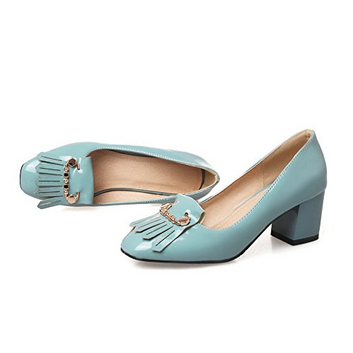 Balamasa Femmes Charmes Glands Chunky Talons Chaussures En Cuir Verni Chaussures Bleu