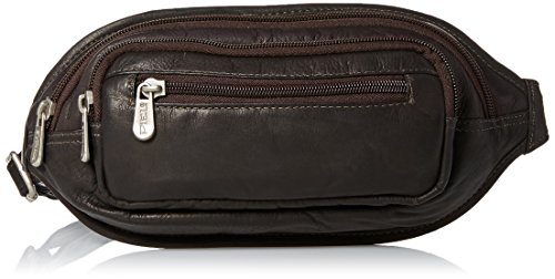Piel Leather Multi-Zip Oval Waist Bag, Chocolate, One (Piel Mens Bag)