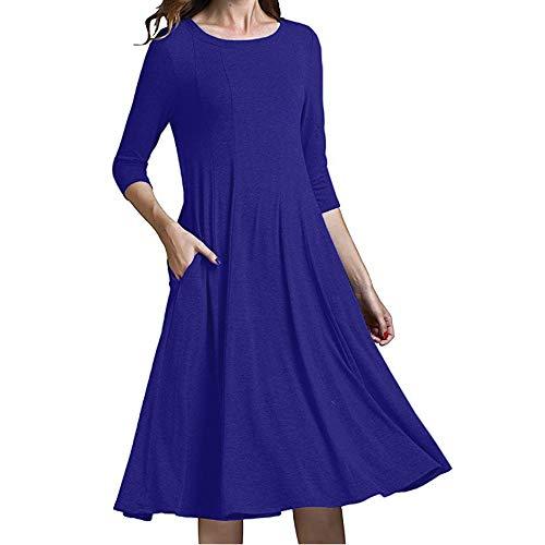 Le Manica Rawdah robe Soirée Vestito Promotion femme Casuale Con tasche Metà Robes Blu femme sciolto Sera ete Sera signore 66w1rxnqR