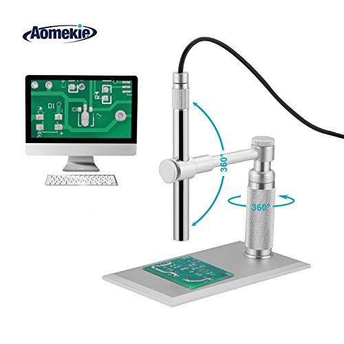 Aomekie USB Digital Microscope Magnifier Camera Video 200X Zoom 1600x1200 HD 2MP PCB Inspection Handheld Endoscope with 8 LED Lights and CMOS Sensor for Mac Windows PC by AOMEKIE
