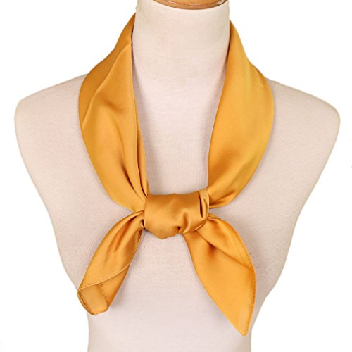 scarf for women polka dot Ribbon scarves 27 by 27 Inch(Yellow) ()