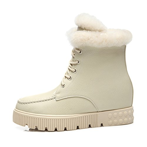 LINJIATIANSI Women's Flat Cotton Up Increased Shoes White High Plus Platform Winter Shoes Sneaker Lace Velvet Women's In SSRCwqg