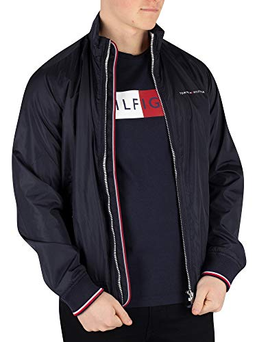 Tommy Hilfiger Men's Nylon Harrington Bomber Jacket, Blue, ()