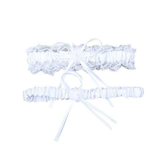 YDTQXG Woman's White Lace Wedding Garters 2-piece Set Bridal Garter Prom Gift]()
