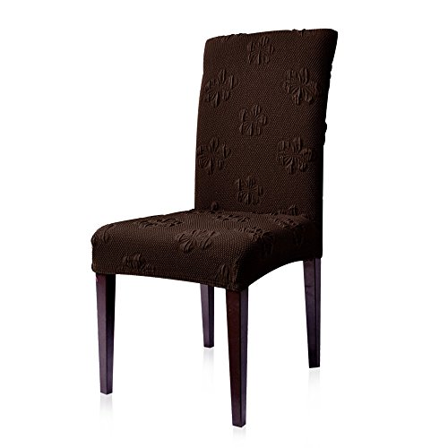 Subrtex Jacquard Stretch Dining Room Chair Slipcovers (4, Chocolate Flower) by Subrtex