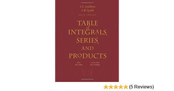 Table Of Integrals Series And Products Pdf