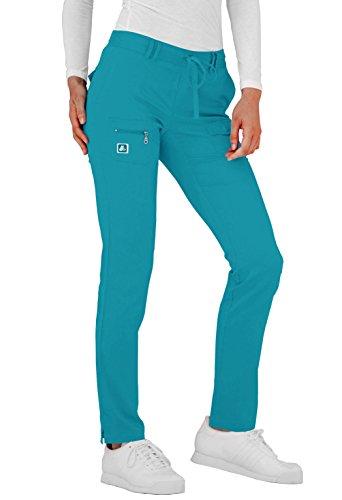 Adar Indulgence Womens Low Rise Tapered Leg 6 Pocket Drawstring Scrub Pants - 4100P - TGR - M ()