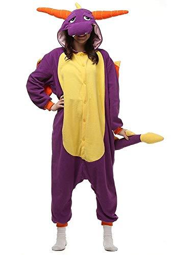 Women's Sleepwear Halloween Pajamas Onepiece Onesie Cosplay Costumes Kigurumi Animal Christmas (M -for Height 159-166CM,Purple Dragon)