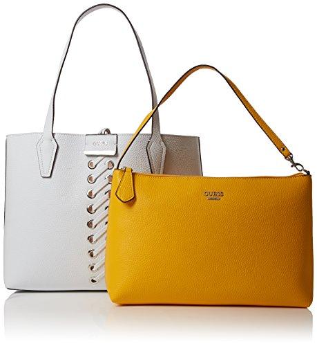 Guess Bobbi, Borsa a Spalla Donna, 12.5x27x42.5 cm (W x H x L) Multicolore (White Yellow)